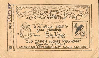 Old Oaken Bucket Brigade - John's certificate from the Fifth Army Mobile Radio Station